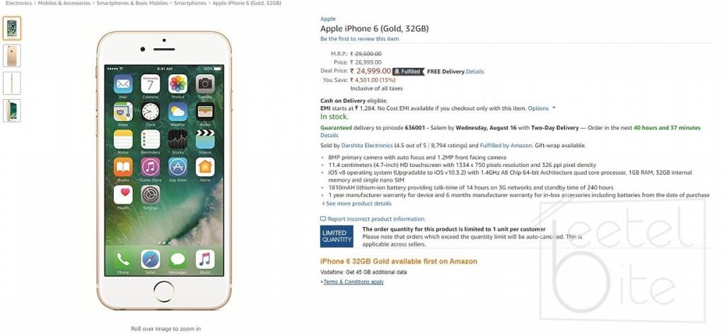 IPHONE 6 PRICE IN INDIA AMAZON - Amazon India offers iPhone