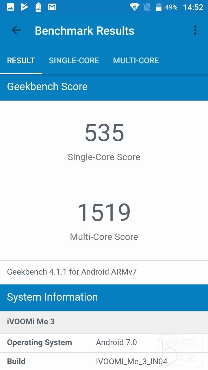iVoomi Me 3 Geekbench