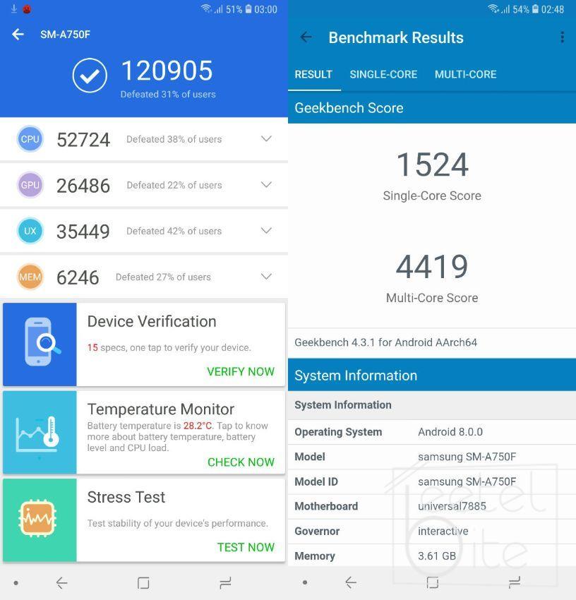 Samsung Galaxy A7 (2018), AnTuTu, GeekBench