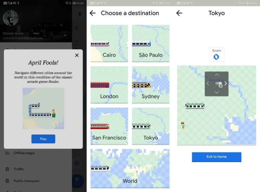 Google, Maps, Snake Game