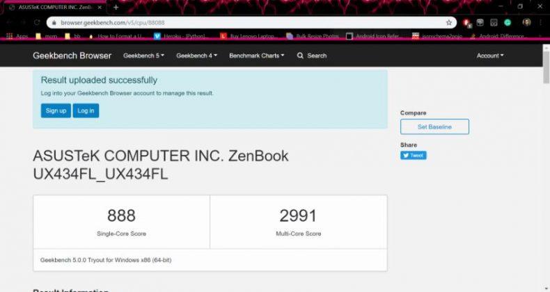 Asus, Zenbook 14 UX434F. Geekbench