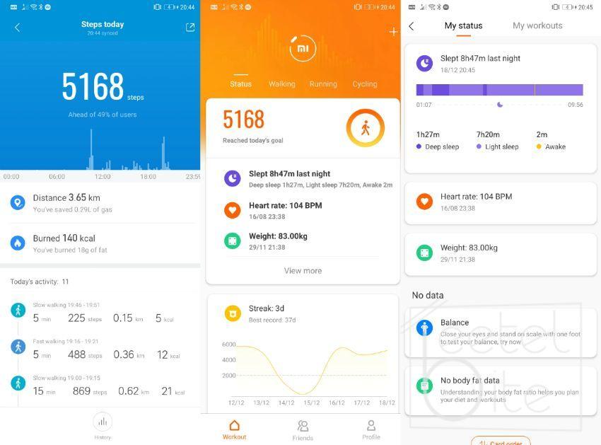 Xiaomi Mi Fit Application